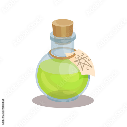 Fototapeta Glass bottle with magic elixir and label with mysterious symbol. Green potion. Item for mobile game. Flat vector design obraz