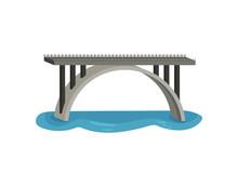 Large Bridge Over River. Modern Construction For Transportation. Metal Footbridge With Railings. Flat Vector Design