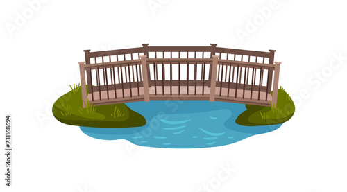 Valokuvatapetti Flat vector illustration of small wooden bridge with railings