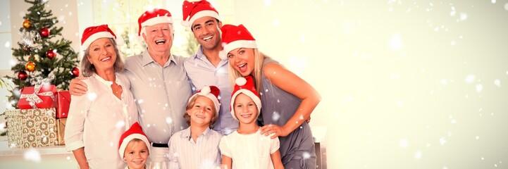 Fototapeta Composite image of family posing for photo