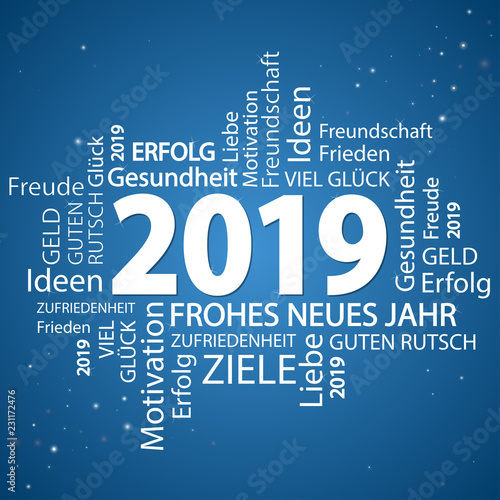 Fototapety, obrazy: word cloud with new year 2019 greetings