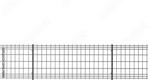 Valokuva grating wire industrial fence panels, grey pvc metal fence panel  on isolated wh