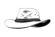 Vector Engraved Style Illustration For Posters, Decoration And Print. Hand Drawn Sketch Of Western Cowboy Hat In Black Isolated On White Background. Detailed Vintage Etching Style Drawing.