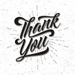 Thank you lettering on grunge background
