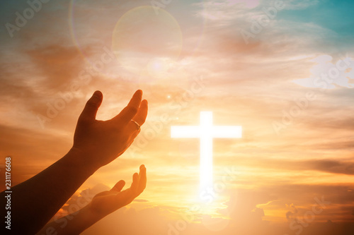 Foto Human hands open palm up worship