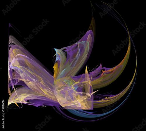 Keuken foto achterwand Fractal waves image of one Digital Fractal on Black Color