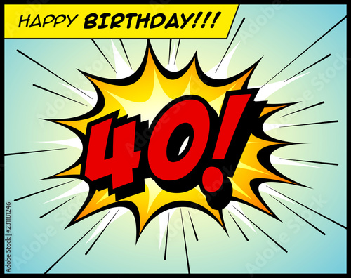 Tela  Happy Birthday postcard, in a vintage style comic book bubble sound effect  - Vector EPS10