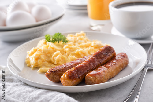 Scrambled Eggs and Breakfast Sausage