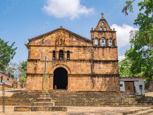 Spoed Foto op Canvas Zuid-Amerika land Church of Santa Barbara in Barichara, Colombia