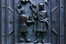 Bas-relief On The Cathedral In Prague / Carving And Decoration Of The Catholic Cathedral In The Czechs