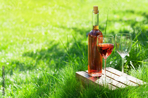 Rose wine bottle and glasses
