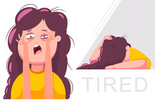 Tired Woman Character. Vector Cartoon Girl Illustration Isolated On A White Background.
