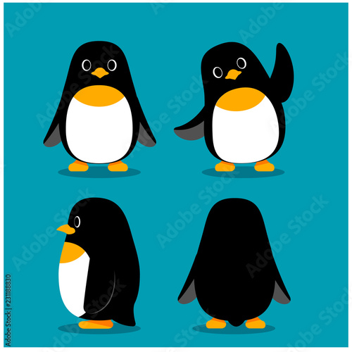 Fotomural Vector set of penguin characters in different action poses