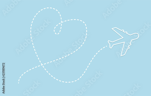 Airplane and path line in heart shape vector. Love to travel concept.