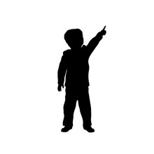 Black Silhouette Of Little Boy Pointing To Sky. Kid In Winter Clothes. Vector Illustration