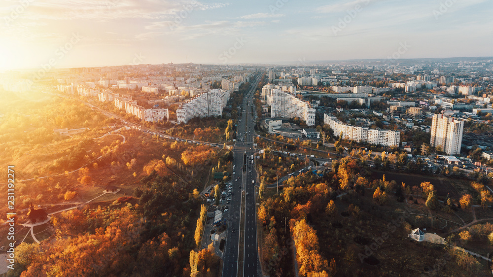 Fototapety, obrazy: The City Gates at sunset.Beautiful city of Chisinau from a height