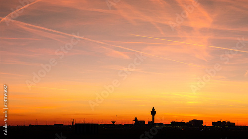 Fényképezés  Amsterdam Schiphol International Airport sunset panorama