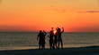 Silhouetted College Friends Laughing Dancing Beach Party