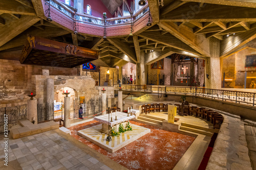 Photo Interior of Church of the Annunciation or the Basilica of the Annunciation in the city of Nazareth in Galilee northern Israel