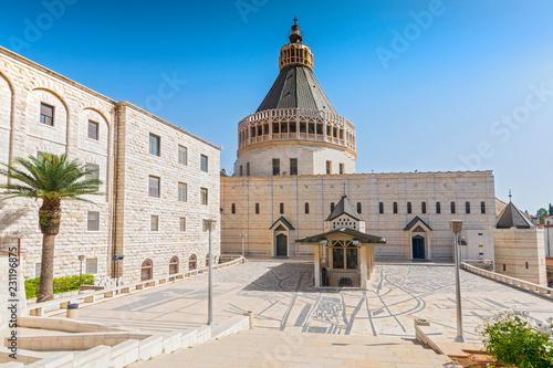 Zdjęcie XXL Powierzchowność kościół Annunciation lub bazylika Annunciation w mieście Nazareth w Galilee północny Izrael.