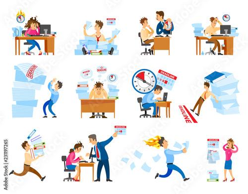 Fotografía  Deadline at Work Icons Set Vector Illustration
