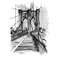 Fototapeta Minimalistyczny Brooklyn Bridge in New York City.