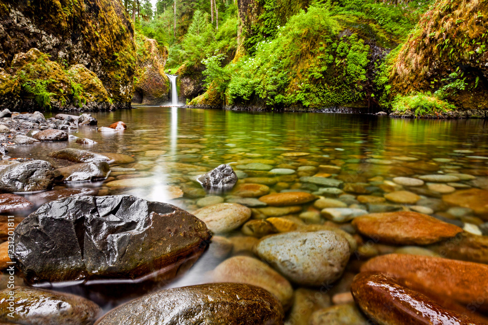 Fototapety, obrazy: Punch Bowl Falls along the Eagle Creek Trail in Oregon with focus on the rocks in the foreground