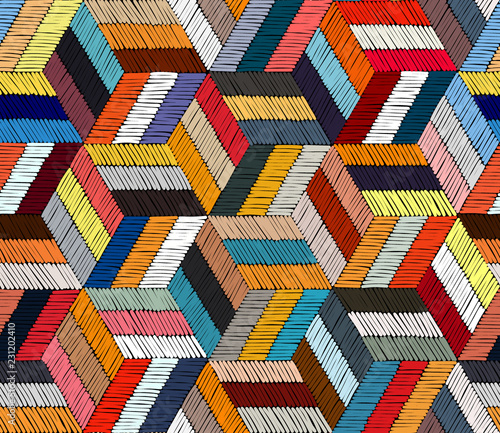 Foto auf AluDibond Boho-Stil Embroidered seamless geometric pattern. Ornament for the carpet. Ethnic and tribal motifs. Colorful print of handmade. Vector illustration.