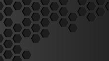 Abstract Hexagon Geometric Vector Black Background