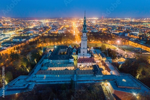 Night aerial drone view on Czestochowa and Jasna Gora monastery