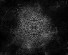 Mystical Abstract Mandala Dark Background.