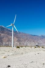 Wind Farm Turbines Generate Power Near Palm Springs, California, In Riverside County.