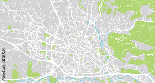 Urban vector city map of Aix en Provence, France Wallpaper Mural