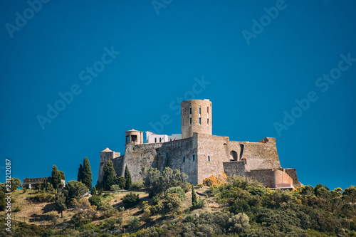 Photo Stands Fortification Collioure, France. Fort Saint Elme In Sunny Spring Day. Old Medi