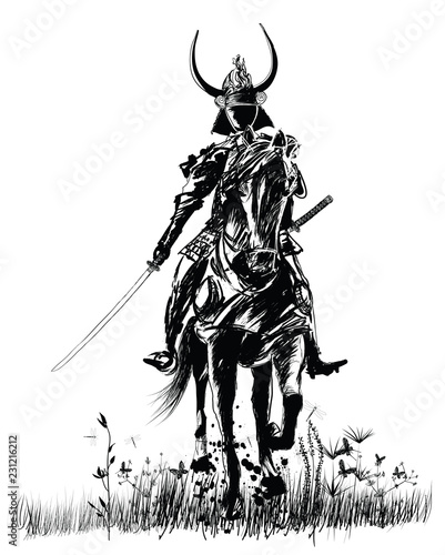Door stickers Art Studio Samourai with sword on a horse