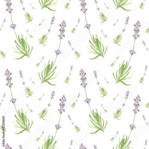 Vászonkép Hand drawn watercolor seamless pattern of delicate elegant lavender
