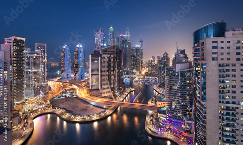Dubai Marina Towers in the Blue Hour