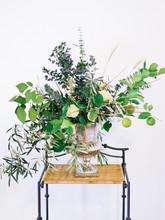 Green Bouquet In Silver Vase