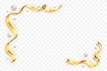 Gold Ribbon Frame. Golden Serpentine Design. Decorative Streamer Border, Isolated Transparent White Background. Decoration For Christmas, Carnival, Holiday Celebration, Birthday. Vector Illustration