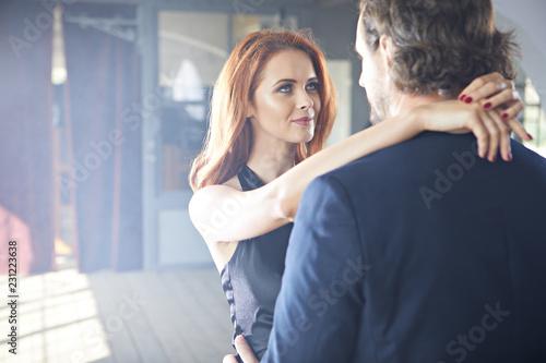 Fotografie, Tablou  A romantic film scene of a couple in love