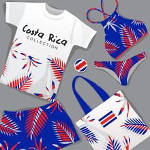Set Of National Beachwear : Costa Rica : Vector Illustration
