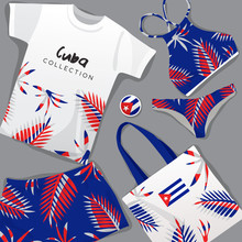 Set Of National Beachwear : Cuba : Vector Illustration