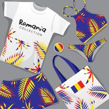 Set Of National Beachwear : Romania : Vector Illustration