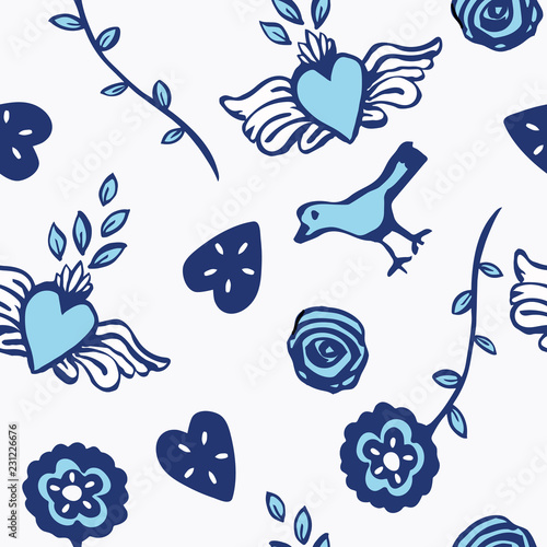 Fotografering  Cute flowers, hearts and birds folk art seamless vector pattern in blue and white