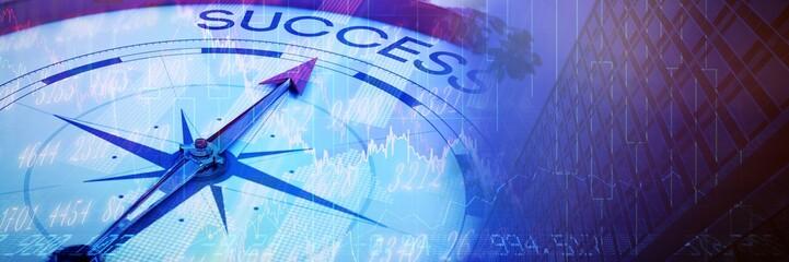 Fototapeta na wymiar Composite image of compass pointing to success