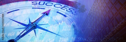 Fototapeta Composite image of compass pointing to success