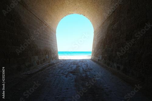 Poster Tunnel Inside a tunnel that leads to the sea shore, natural scene, l'Aliga beach, Mediterranean, Catalonia, Costa Dorada, L'Ametlla de Mar, Tarragona, Spain