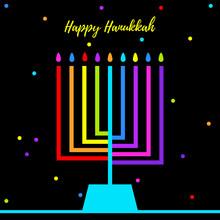 Hanukkah Candles. Jewish Holiday. Happy Hanukkah Card Design. Vector Illustration