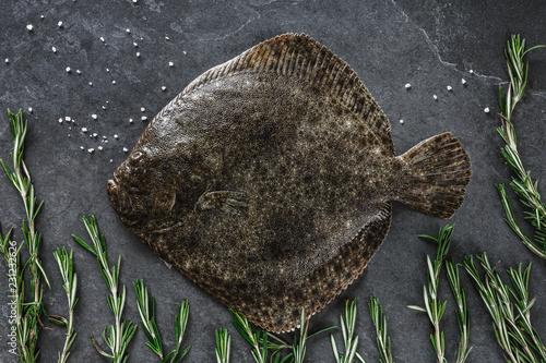 Obraz na plátne Raw whole flounder fish with rosemary on dark stone background
