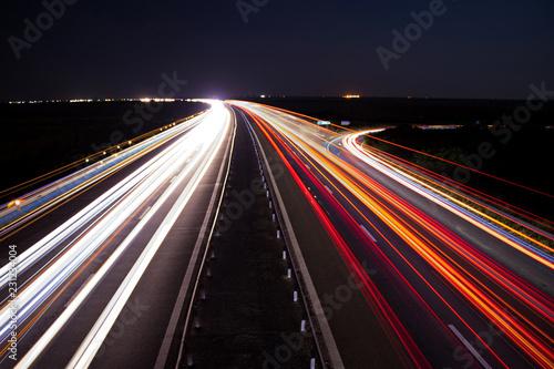 Foto op Plexiglas Nacht snelweg Highway car light trails